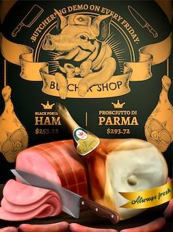 Reklamy promocyjne w sklepie mięsnym, pyszne delikatesy na ilustracji z wykwintnym grawerem wieprzowiny i mięsa