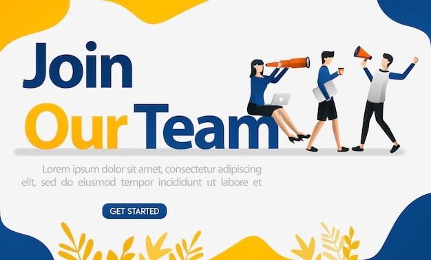 Reklamy rekrutacyjne pracowników ze słowami dołącz do naszego zespołu