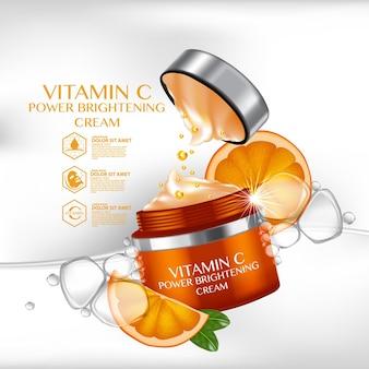 Reklamy serum witaminy c z orzeźwiającymi cytrusami i butelką z kroplami