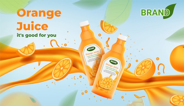 Reklamy soku pomarańczowego dwie butelki soku pomarańczowego z plasterkami pomarańczy i strumieniem
