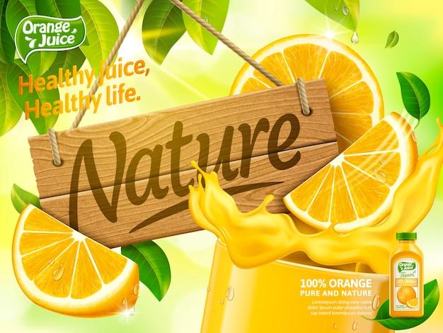 Reklamy soku pomarańczowego, szklanka soku ze znakiem natury drewna na białym tle