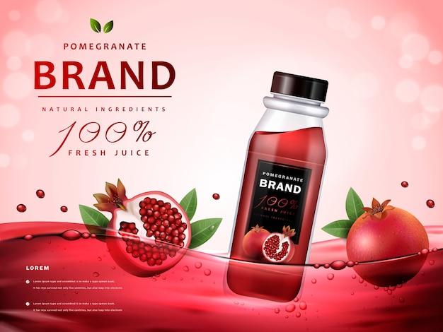 Reklamy soku z granatów z pysznym sokiem