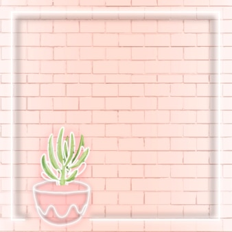 Reklamy społecznościowe w neonowej ramce z kaktusem