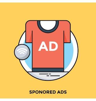 Reklamy sponsorowane płaskie wektor ikona