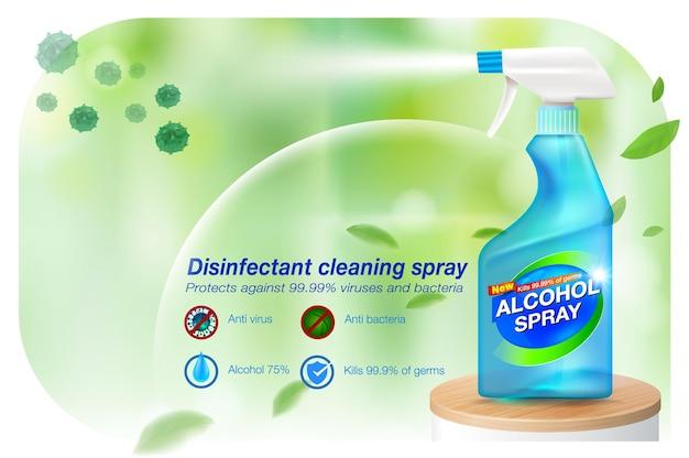 Reklamy środek dezynfekujący w sprayu do dezynfekcji rąk w sprayu 75 składników alkoholowych