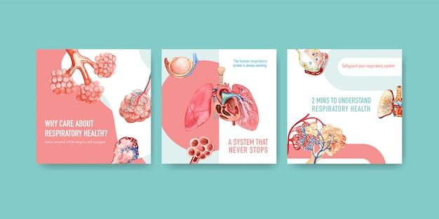 Reklamy szablonowe z ludzką anatomią płuc i układu oddechowego
