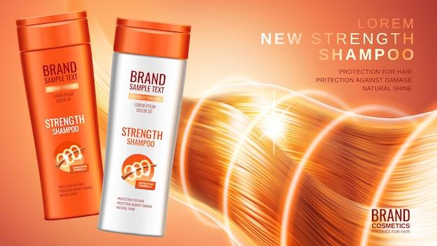 Reklamy szamponów premium, realistyczne butelki kosmetyczne szamponu w różnych opakowaniach