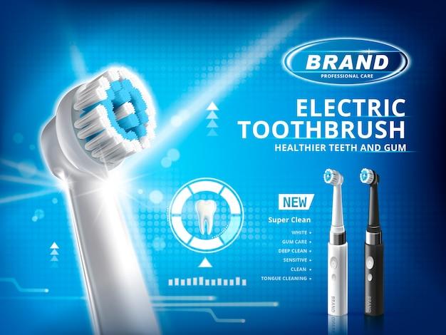 Reklamy szczoteczek elektrycznych z różnymi trybami