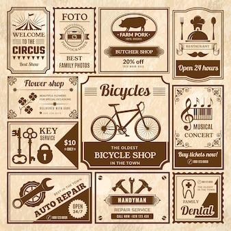 Reklamy tekstowe w gazecie w stylu vintage w ramkach ogłaszają zestaw etykiet multimedialnych.