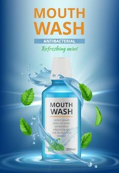 Reklamy wody do płukania. stomatologiczny plakat medyczny płyn do płukania ust świeże rozpryski wody do czyszczenia