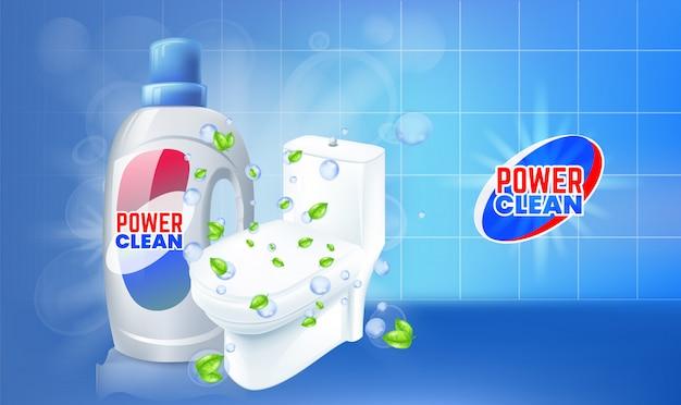 Reklamy żelowe do czyszczenia toalet. realistyczna ilustracja z widokiem z góry toalety.
