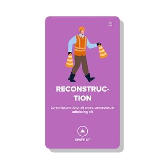 Rekonstrukcja zawód człowieka z szyszek wektor. konstruktor ubrany w mundur i hełm ochronny pracujący nad przebudową. postać z uwagą akcesoria ilustracja kreskówka sieci web płaska