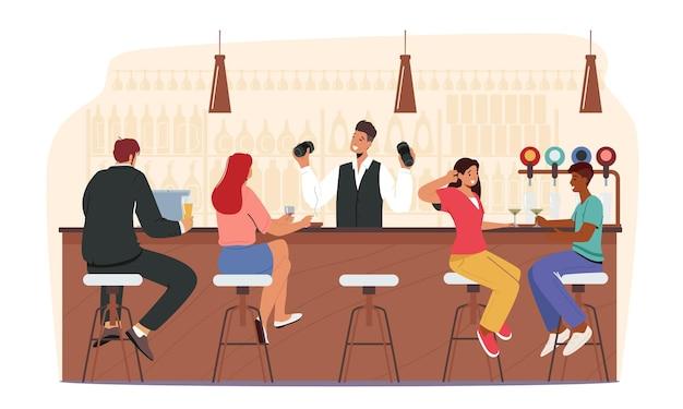 Rekreacja w barze. ludzie odwiedzają pub, para siedzi przy wysokich krzesłach pijąc alkohol na biurku, barman robi koktajle
