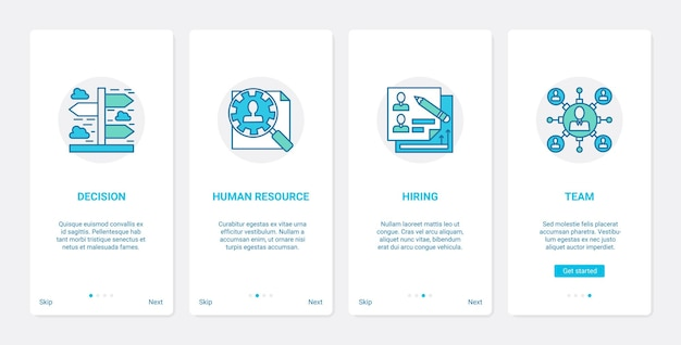 Rekrutacja do zarządzania zasobami ludzkimi w firmie ux ui zestaw ekranów do aplikacji mobilnych