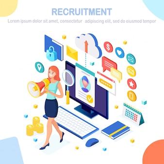 Rekrutacja. izometryczny telefon komórkowy 3d, smartfon, cv cv, folder, megafon, megafon, kobieta z głośnikiem. zasoby ludzkie, menedżer hr. zatrudnianie pracowników rozmowa kwalifikacyjna