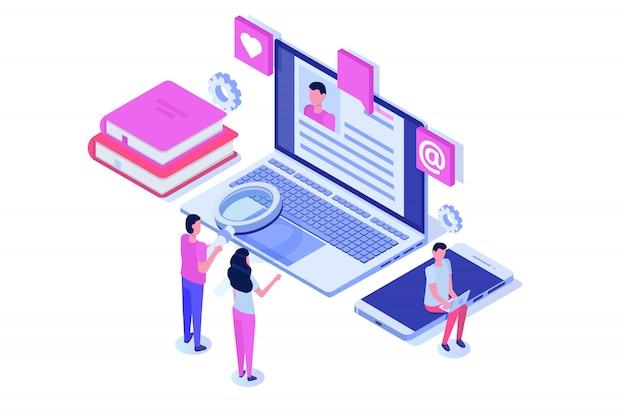 Rekrutacja, koncepcja izometryczna poszukiwania pracy. używaj do prezentacji, mediów społecznościowych, kart, banerów internetowych. ilustracja