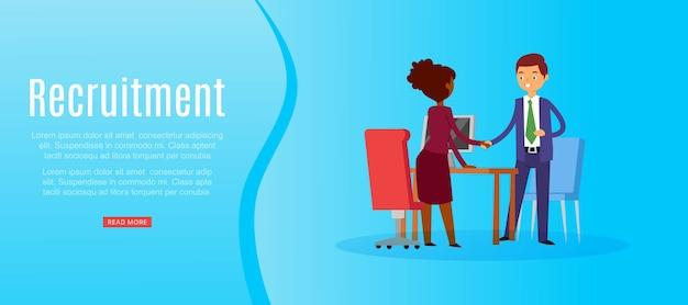 Rekrutacja napis, pełny etat, poszukiwanie kandydata, kariera biznesowa, rozmowa kwalifikacyjna, ilustracja. pracodawca zatrudnia pracownika, firmę zarządzającą, zespół rekrutacyjny biznesmenów.