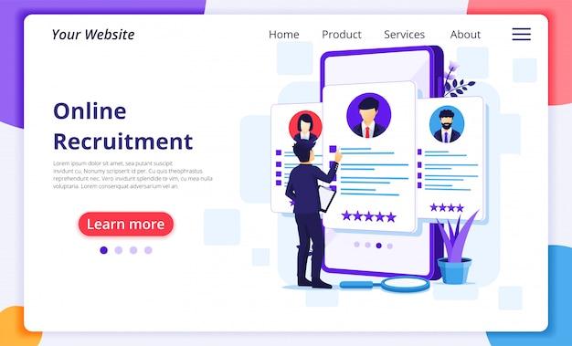 Rekrutacja online, biznesmen wybiera najlepszego kandydata na nowego pracownika, koncepcja zasobów ludzkich i rekrutacji.