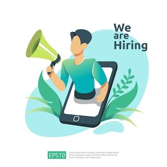 Rekrutacja online i koncepcja rekrutacji osób z charakterem ludzi. wywiad agencji wybierz proces wznowienia dla szablonu mediów społecznościowych, strony docelowej, banera, prezentacji