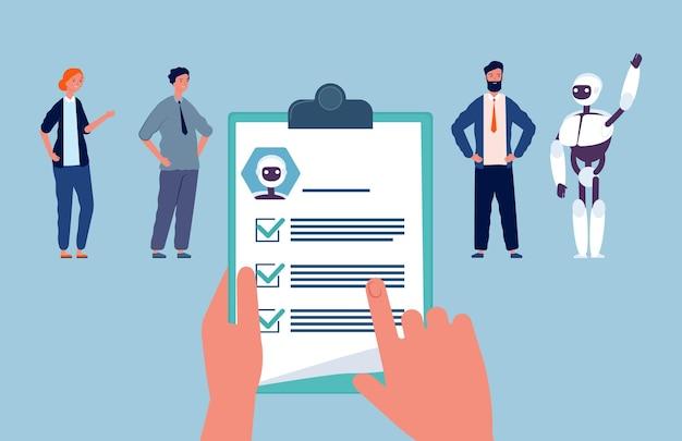 Rekrutacja. robot i ludzie, poszukujący pracy. ręce trzymać wznowić zatrudnianie pracowników ilustracji wektorowych. rywalizacja zespołowa, zatrudnienie robota