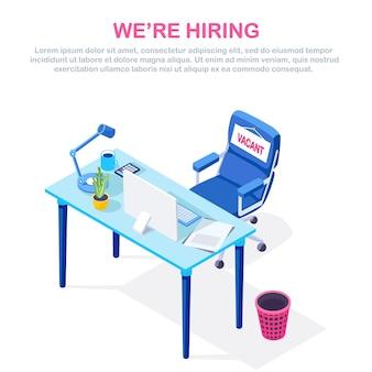 Rekrutacja. wnętrze biurowe z biurkiem, wolne krzesło, komputer, dokumenty. miejsce pracy dla pracownika