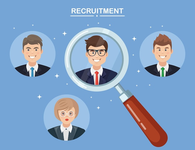 Rekrutacja, zatrudnienie pracownika. wybór kandydata do biznesu przez lupę. zasoby ludzkie