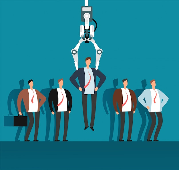 Rekrutujący robot z pazurem przemysłowym wybiera mężczyznę z wybranej grupy ludzi. rekrutacja, agencja zatrudnienia wektor biznes koncepcja