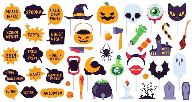 Rekwizyty na halloween. akcesoria wakacyjne dymki z frazami, kapeluszem z dyni, czaszki i diabła. pająk, duch i nietoperz, ikony wektorowe miotły. halloweenowa maskarada, zestaw świąteczny ilustracja