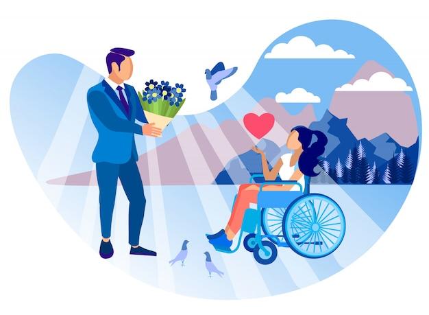 Relacja z niepełnosprawną dziewczyną cartoon flat.