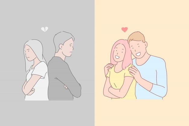 Relacje międzyludzkie, nieporozumienia i harmonia, ilustracja przeciwnych emocji