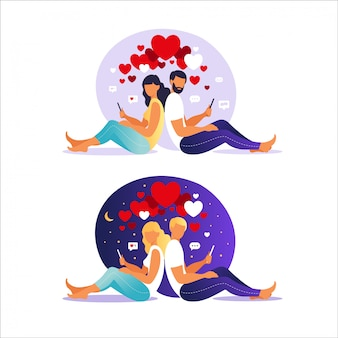 Relacje wirtualne. randki w internecie. zakochany mężczyzna i kobieta. para siedzi z powrotem ze smartfonami. ilustracja, płaski.