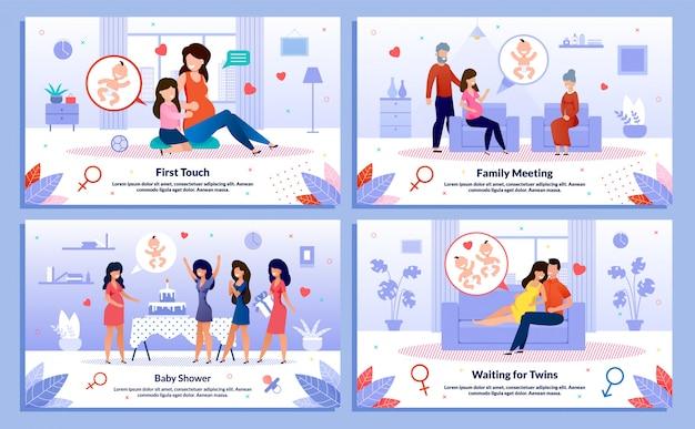 Relacje z kobietami w ciąży, wsparcie plakatów wektorowych