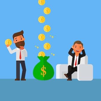 Relaks biznesmen zarabia więcej pieniędzy niż biznesmen
