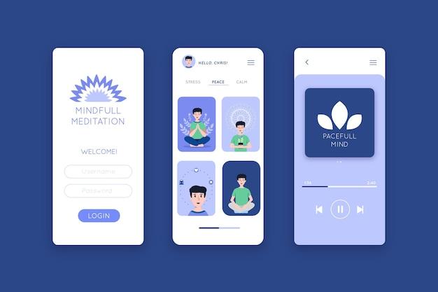 Relaks i medytacja szablon aplikacji na smartfona