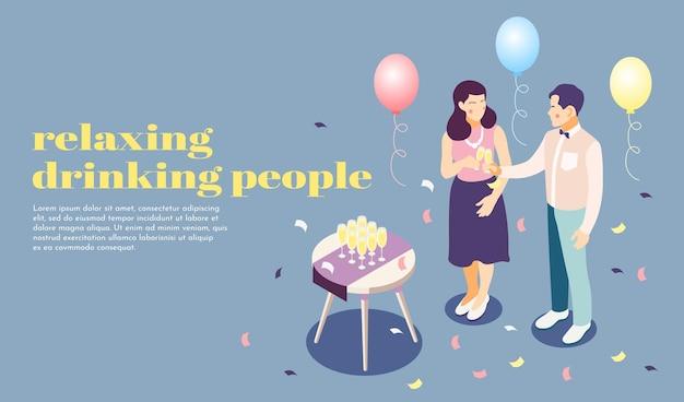 Relaks i picie ludzi na imprezowym plakacie izometrycznym z ilustracją symboli gastronomicznych