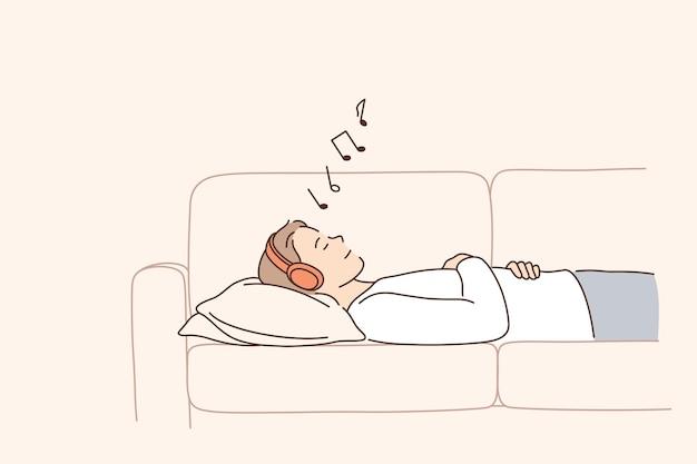 Relaks i słuchanie muzyki koncept