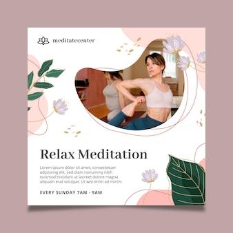 Relaks medytacja kwadratowy szablon ulotki