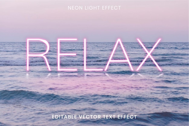 Relaks różowe neonowe słowo edytowalny efekt tekstu wektorowego