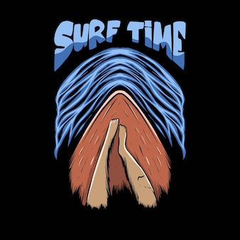 Relaksująca ilustracja na desce surfingowej z napisem czasu surfowania na projekt koszulki
