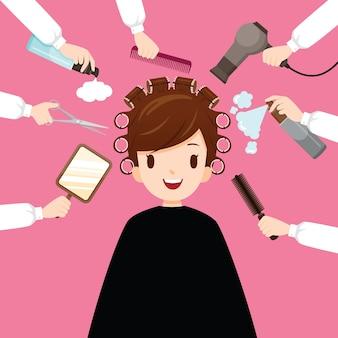 Relaksująca kobieta w salon fryzjerski z urządzenia fryzjerskie