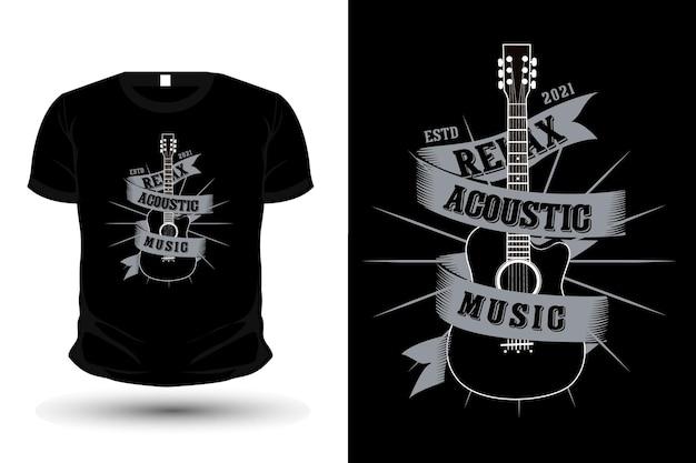 Relaksująca koszulka z muzyką akustyczną z gitarą