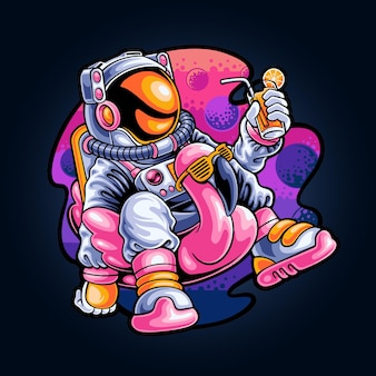 Relaksujący astronauta w kosmosie