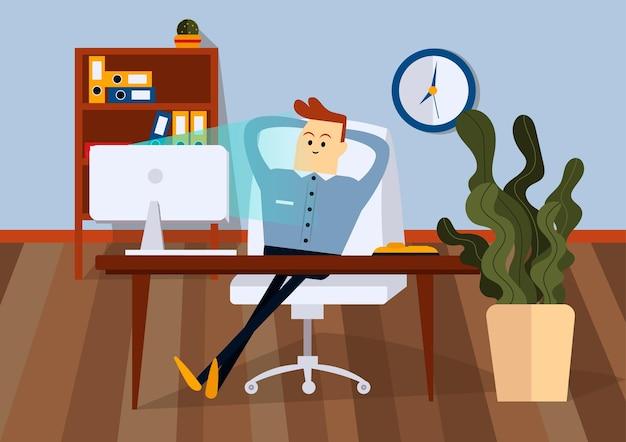 Relaksujący biznesmen siedzi na krześle biurowym przy biurku komputerowym. przedni widok. kolorowa ilustracja kreskówka wektor