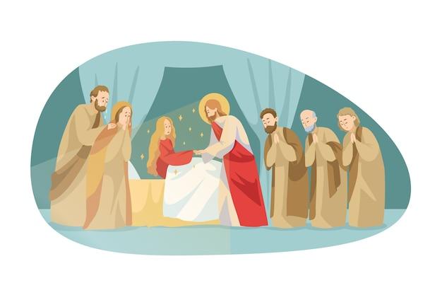 Religia, biblia, koncepcja chrześcijaństwa. jesus christson of god biblijna postać ewangelii mesjasza dokonuje cudownego wniebowstąpienia zmarłej kobiety poprzez dotyk. boska cudowna pomoc i błogosławieństwo ilustracji.