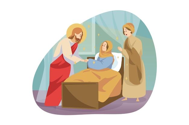 Religia, biblia, koncepcja chrześcijaństwa. jezus chrystus syn boży mesjasz prorok o charakterze biblijnym dokonuje cudownego uzdrowienia chorej dziewczynki poprzez dotyk. boska pomoc i błogosławieństwo ilustracji.