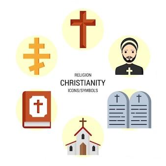 Religia chrześcijaństwo zestaw ikon