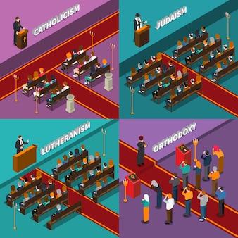 Religia i ludzie izometryczny ilustracja