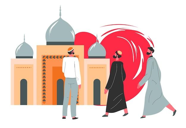 Religia islamu i tradycje bliskiego wschodu i krajów arabskich w życiu codziennym. mężczyźni w długich ubraniach udają się do meczetu, aby modlić się do allaha. osoby religijne stojące przy budynku. wektor w stylu płaskiej