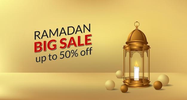 Religia kultury ramadanu z ilustracją złotej latarni i dekoracji piłki na sprzedaż oferuje szablon transparent