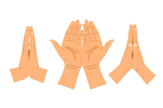 Religia modląc się ręce na białym tle